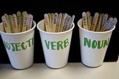 Noun verb adjective cups