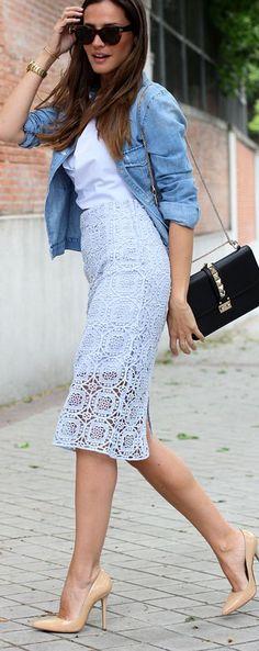 Zara Tender Blue High Waisted Crochet Pencil Skirt by LadyAddict | Keep The Glamour ♡ ✤ LadyLuxury ✤