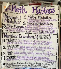 math test prep anchor chart