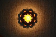 Wood carved tea light holder Oak Volcano by LVwoodworks on Etsy