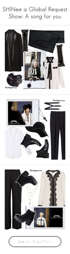 """""""SHINee @ Global Request Show: A song for you"""" by the92liner ❤ liked on Polyvore featuring Boutique Moschino, Zara, H&M, DailyLook, shinee, Owen, Express, Rebecca Taylor, L'Agence and MANGO"""