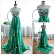 Green A long Sweetheart Sweep Train Prom Dress, Dresses for Prom, Green Prom Dresses, Cheap Long Prom Dresses 2014, $168.99