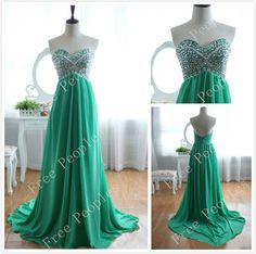 Green A long Sweetheart  Sweep Train Prom Dress, Dresses for Prom, Green Prom Dresses, Cheap Long Prom Dresses 2014, $168.99