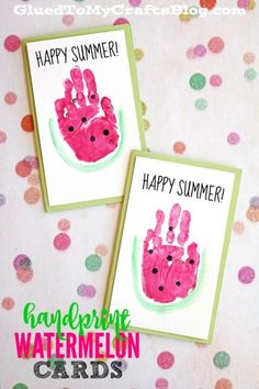 Handprint Watermelon Cards - Kid Craft - Glued To My Crafts Summer Crafts For Kids, Spring Crafts, Holiday Crafts, Art For Kids, Summer Art, Crafts For 3 Year Olds, Daycare Crafts, Classroom Crafts, Baby Crafts