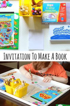 This preschool invitation to make books is packed full of learning opportunities. Kids will develop writing, literacy and fine motor skills while making their own book. Preschool Literacy, Homeschool Kindergarten, Preschool Books, Early Literacy, Literacy Activities, Educational Activities, Activities For Kids, Literacy Centers, Preschool Ideas