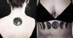 18 Enchanting Blackwork Moon Tattoos