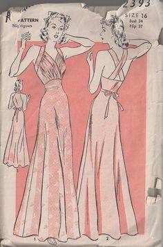MOMSPatterns Vintage Sewing Patterns - Advance 2393 Vintage 40's Sewing Pattern SENSATIONAL Film Noir Slinky Bias Cut Nightgown, Surplice Front, Straps Evening Gown