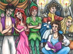 Harry Potter Meets Disney, Aladdin Harry Ariel Ginny Peter Pan Ron Belle Hermione prince Neville Alice luna