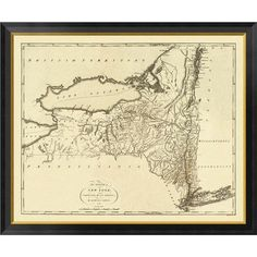 """Global Gallery 'State of New York, 1795' by Mathew Carey Framed Graphic Art on Canvas Size: 33"""" H x 40"""" W x 1.5"""" D"""