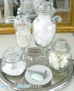 To Make Upscale Apothecary Jars Tutorial Make Upscale Apothecary Jars using dollar store items and glue. This walk through shows what to buy, and how to put them all together!Make Upscale Apothecary Jars using dollar store items and glue.