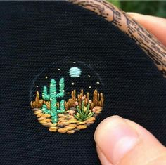 Desert night mini embroidery