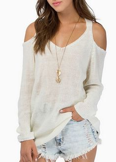Cutout Shoulder Long Sleeve White Sweater