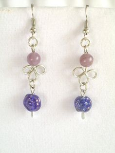 Purple dangle earrings silver wire wrapped by 2012BellaVida, $10.00