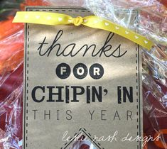 DIY Printable Parent Volunteer End of the Year Gift Tag: Thanks for Chippin' In by leslienashdesigns on Etsy