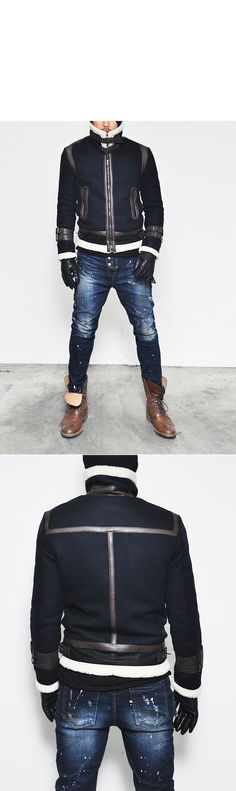 Outerwear :: Jackets :: Leather Trim Belted Shearling Aviator-Jacket 72 - Mens Fashion Clothing For An Attractive Guy Look