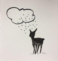 Bambi painettu garfiikan laakapainolla, pilvi ja sade on piirretty tussilla grafiikanpaperille. Vedosta ei ole numeroitu.