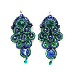 Soutache earings Peacock colours by IOSO on Etsy, Soutache Earrings, Dangle Earrings, Dark Blue Green, Navy Blue, Creative Textiles, Peacock Colors, Artisan Jewelry, Swarovski Crystals, Dangles