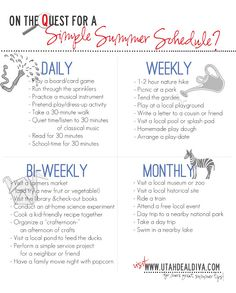 Simple Summer   Ideas for daily, weekly, bi-weekly, and monthly activities to keep summer interesting.