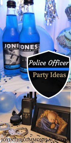 How to throw a simple police officer themed party! Find epic party ideas- blue and silver theme, hand cuffs and police radio props, Jones Soda, and more! by erma Police Retirement Party, Police Party, Office Birthday, Boy Birthday Parties, Themed Parties, Birthday Cakes, Birthday Ideas, Kids Party Themes, Party Ideas