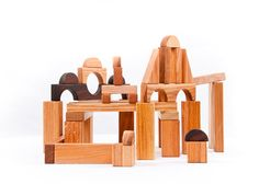 Hard wood different shaped building blocks made by asummerafternoon on etsy
