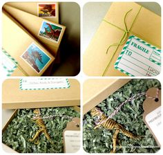 Dinosaur Party Invitation- looove it! can use the dino toys from the fossl cookies and the green package paper from dollar store