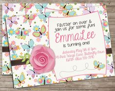Printable BUTTERFLY 1st Birthday Party Invitation by DandeAve, $10.00