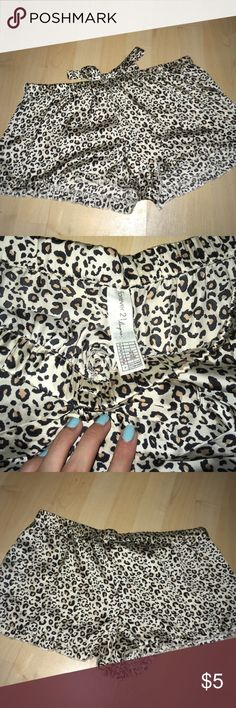 Forever21 lingerie cheetah print silky bed shorts. There is an elastic waist band but the tie does not sinch it. Size Large. Slight fraying on right side short leg. Forever 21 Intimates & Sleepwear Pajamas