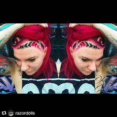 @razordolls #razordollssalon#hairtattoo #shavings #hairtattoos #hairdesign #manicpanic #pinkhair #manicpanicnyc