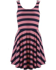LOVE Pink And Navy Stripe Jersey Skater Dress - In Love With Fashion