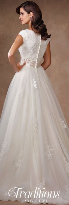 Traditions by Mon Cheri Spring 2017 Wedding Gown Collection - Style No. TR11702 - cap sleeve lace and tulle wedding dress with bateau neckline and horsehair hemline