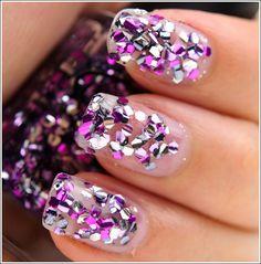 clear, glitter, nail, nail polish, nails
