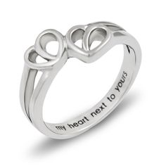 double hearts lovers ring promise ring wedding band ring my heart hext to yours - 25th Wedding Anniversary Rings