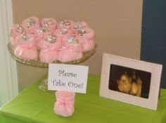 Baby Shower Favor Idea-I made these using colored crepe paper cut into fourths. Using dixie cups add height also.