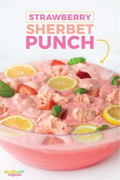 Perfect for baby showers or just as a refreshing summer drink, this pink strawberry sherbet punch can be whipped up in less than 10 minutes using a few simple ingredients! Sherbert Punch Recipes, Strawberry Punch Recipes, Pink Punch Recipes, Sherbet Punch, Party Punch Recipes, Strawberry Lemonade Punch, Wedding Punch Recipes, Summer Punch Recipes, Bridal Shower Punch