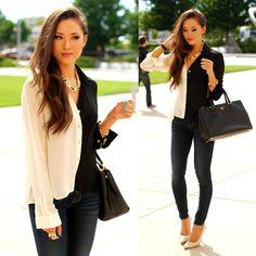 La Vie En Rose Bianca Valentino Shirt, Pacsun Bullhead Denim, Prada Black Bag, Ziba Collection Gold Jewelry Set