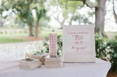 """custom coasters for favors with a sign that says, """"if you see a coaster you like, take it! it's yours!"""""""