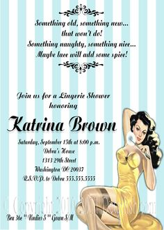 Cute invite for a Bachelorette Party Lingerie Shower Invitations, Lingerie Party, Bachelorette Party Invitations, Bridal Lingerie, Sexy Lingerie, Invitation Wording, Invites, I Got Married, Vintage Fashion