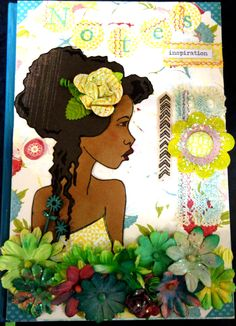 """PRIMA BLOOM GIRL COLLECTION. Mixed Media Notebook Cover, Journal Cover by Fiona Parker, Geraldton, Western Australia. Prima Bloom Girl """"Hope"""" stamp by Jamie Dougherty for Prima Marketing."""