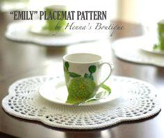 Crochet Placemat Pattern  EMILY Placemats  PDF by hennasboutique