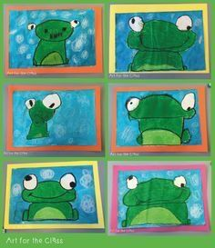 Last week my class made these adorable frog artworks. We read a frog based story that complemented our unit of work on water. I cannot reme. Art for the Class: Frog Art Making- Directed Drawing Art for the Class: Frog Art Making - made with oil pastels. Grade 1 Art, First Grade Art, Kindergarten Art Lessons, Art Lessons Elementary, Kindergarten Drawing, Spring Art Projects, School Art Projects, Drawing For Kids, Art For Kids