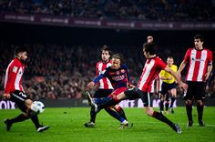 Neymar Santos Jr of FC Barcelona kicks the ball towards goal and scores his team's third goal during the Copa del Rey Quarter Final Second Leg between FC Barcelona and Athletic Club at Camp Nou stadium on January 27, 2016 in Barcelona