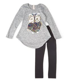 Another great find on #zulily! Gray Sequin Owl Tunic & Leggings - Girls by Maya Fashion #zulilyfinds