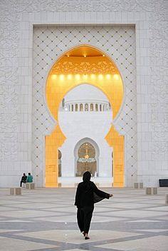 Main entrance, Sheikh Zayed Grand Mosque, Abu Dhabi, United Arab Emirates…