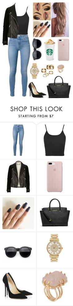 """""""Untitled #682"""" by myriam-sanchez ❤ liked on Polyvore featuring Topshop, River Island, MICHAEL Michael Kors, Michael Kors, Jimmy Choo, Kelly Wearstler and Apt. 9"""