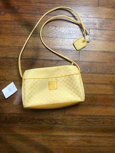 e68d9a708bf Vtg NOS NWT Yellow Monogram Liz Claiborne Crossbody Purse bag 90 s