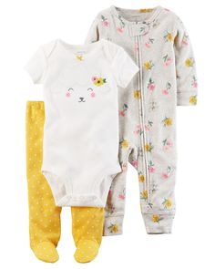 cef6bf0f4c 3-Piece Floral Sleep   Play Set. Kid OutfitsNewborn ...