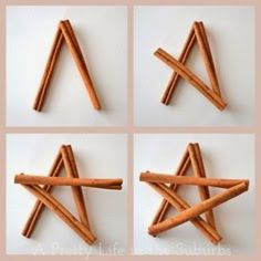 DIY Cinnamon Star Ornaments- These smell so good! Finally a use for the pound of sticks I just got :) Christmas Ornament Crafts, Star Ornament, Noel Christmas, Homemade Christmas, Rustic Christmas, Christmas Projects, Holiday Crafts, Christmas Decorations, Christmas Centrepieces