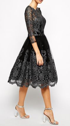 Chi Chi London Premium Metallic Lace Midi Prom Dress with Bardot Neck - Black