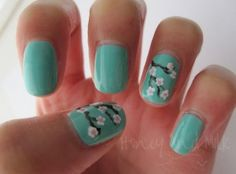 glitter-colorful-abstract-pink-floral-cartoons-acrylic-cherry-flower-cute-nail-art-26-lovely-and-cute-nails-designs1