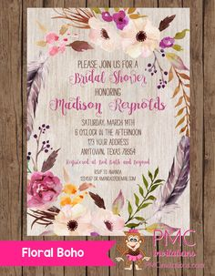 ae66ef6774e Custom Printed Floral Boho Bridal Shower Invitations - Bridal Party  Invitation - 1.00 each with envelope
